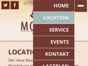 Homepage des Montego Beachclubs (Mobile Version)