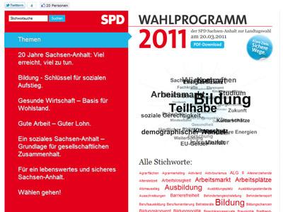 Wahlprogramm 2011 – Das Programm der SPD Sachsen-Anhalt als Website