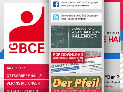 Homepage der Industriegewerkschaft Bergbau, Chemie, Energie in Halle (Saale) online