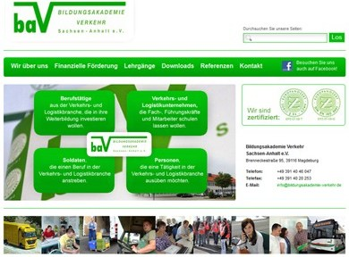 Neue Homepage der Bildungsakademie Verkehr Sachsen-Anhalt e.V. online